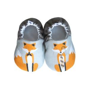 Rókás - Hordozós pamutcipő , Gyerek & játék, Táska, Divat & Szépség, Cipő, papucs, Varrás, 16-19-es méretben rendelhetők a cipőcskék, kívül-belül pamutból készülnek, illetve a két réteg közé ..., Meska