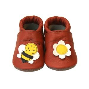 Hopphopp puhatalpú cipő - Méhecskés, Ruha & Divat, Cipő & Papucs, Cipő, Varrás, A cipők természetes, puha, minőségi bőrből készülnek, melyek ideálisak a járni tanuló babáknak, vagy..., Meska