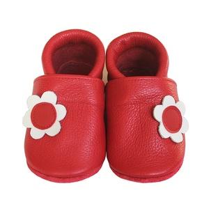 Hopphopp puhatalpú cipő - Virágos/Piros, Ruha & Divat, Cipő & Papucs, Cipő, Varrás, A cipők természetes, puha, minőségi bőrből készülnek, melyek ideálisak a járni tanuló babáknak, vagy..., Meska