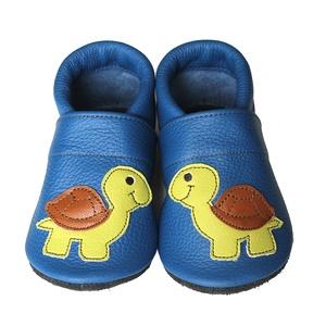 Hopphopp puhatalpú cipő - Teknősös/Kék, Gyerek & játék, Táska, Divat & Szépség, Cipő, papucs, Varrás, A cipők természetes, puha, minőségi bőrből készülnek, melyek ideálisak a járni tanuló babáknak, vagy..., Meska