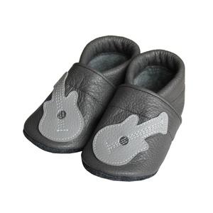 Hopphopp puhatalpú cipő - Gitár/Szürke, Táska, Divat & Szépség, Cipő, papucs, Ruha, divat, Gyerekruha, Varrás, A cipők természetes, puha, minőségi bőrből készülnek, melyek ideálisak a járni tanuló babáknak, vagy..., Meska
