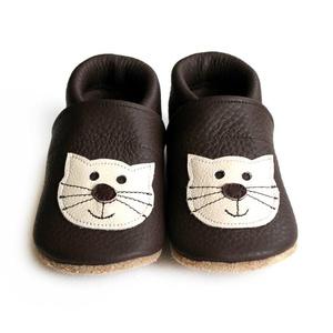 Hopphopp puhatalpú cipő - Cica, Babacipő, Babaruha & Gyerekruha, Ruha & Divat, Varrás, A cipők természetes, puha, minőségi bőrből készülnek, melyek ideálisak a járni tanuló babáknak, vagy..., Meska