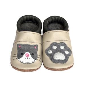 Hopphopp Puhatalpú Cipő - 3D Cica, Babacipő, Babaruha & Gyerekruha, Ruha & Divat, Varrás, A saját tervezésű 3D mintás cipők természetes, puha, minőségi bőrből készülnek, melyek ideálisak a j..., Meska