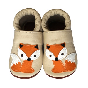Hopphopp puhatalpú cipő - Rókás/Bézs, Babacipő, Babaruha & Gyerekruha, Ruha & Divat, Varrás, Bőrművesség, A cipők természetes, puha, minőségi bőrből készülnek, melyek ideálisak a járni tanuló babáknak, vagy..., Meska