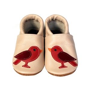 Hopphopp puhatalpú cipő - Madárkás/Púderrózsaszín, Táska, Divat & Szépség, Cipő, papucs, Gyerekruha, Ruha, divat, Bőrművesség, Varrás, A cipők természetes, puha, minőségi bőrből készülnek, melyek ideálisak a járni tanuló babáknak, vagy..., Meska