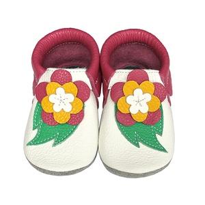 Hopphopp Puhatalpú Mokaszin - Virágos fehér/pink, Gyerek & játék, Táska, Divat & Szépség, Cipő, papucs, Gyerekruha, Ruha, divat, Bőrművesség, Varrás,  A cipők természetes, puha, minőségi bőrből készülnek, melyek ideálisak a járni tanuló babáknak, vag..., Meska