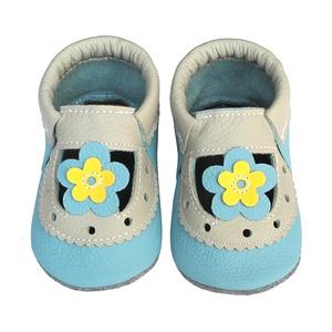 Hopphopp Puhatalpú Szandál - Virágos kék/szürke, Gyerek & játék, Táska, Divat & Szépség, Cipő, papucs, Gyerekruha, Ruha, divat, Bőrművesség, Varrás,  A cipők természetes, puha, minőségi bőrből készülnek, melyek ideálisak a járni tanuló babáknak, vag..., Meska