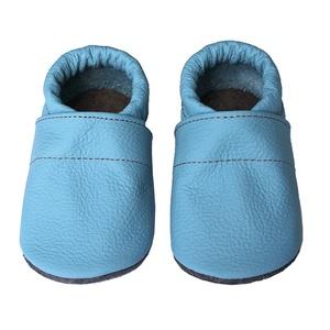 Hopphopp puhatalpú cipő - Világoskék, Táska, Divat & Szépség, Cipő, papucs, Ruha, divat, Gyerekruha, Bőrművesség, Varrás, A cipők természetes, puha, minőségi bőrből készülnek, melyek ideálisak a járni tanuló babáknak, vagy..., Meska