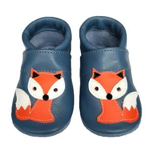 Hopphopp puhatalpú babacipő - Rókás/Szürkéskék, Táska, Divat & Szépség, Cipő, papucs, Ruha, divat, Gyerekruha, Baba (0-1év), Gyerek (1-10 év), Bőrművesség, Varrás, A cipők természetes, puha, minőségi bőrből készülnek, melyek ideálisak a járni tanuló babáknak, vagy..., Meska