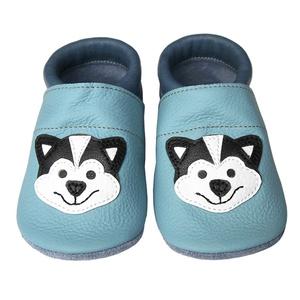 Hopphopp puhatalpú cipő - Szibériai husky, Táska, Divat & Szépség, Cipő, papucs, Ruha, divat, Gyerekruha, Baba (0-1év), Gyerek (1-10 év), Bőrművesség, Varrás, A cipők természetes, puha, minőségi bőrből készülnek, melyek ideálisak a járni tanuló babáknak, vagy..., Meska