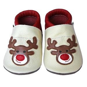 Új!!!  Hopphopp puhatalpú cipő - Rénszarvas - bézs/piros, Táska, Divat & Szépség, Cipő, papucs, Ruha, divat, Gyerekruha, Baba (0-1év), Gyerek (1-10 év), Bőrművesség, Varrás, A cipők természetes, puha, minőségi bőrből készülnek, melyek ideálisak a járni tanuló babáknak, vagy..., Meska