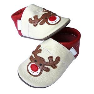 Új!!!  Hopphopp puhatalpú cipő - Rénszarvas - bézs/piros (Hopphopp) - Meska.hu