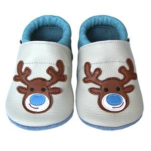 Új!!! Hopphopp puhatalpú cipő - Rénszarvas - világosszürke/világoskék, Táska, Divat & Szépség, Cipő, papucs, Ruha, divat, Gyerekruha, Baba (0-1év), Gyerek (1-10 év), Bőrművesség, Varrás, A cipők természetes, puha, minőségi bőrből készülnek, melyek ideálisak a járni tanuló babáknak, vagy..., Meska