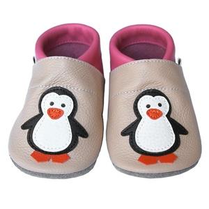 Új!!! Hopphopp puhatalpú cipő - Pingvin - púder/rózsaszín, Táska, Divat & Szépség, Cipő, papucs, Ruha, divat, Gyerekruha, Baba (0-1év), Gyerek (1-10 év), Bőrművesség, Varrás, A cipők természetes, puha, minőségi bőrből készülnek, melyek ideálisak a járni tanuló babáknak, vagy..., Meska