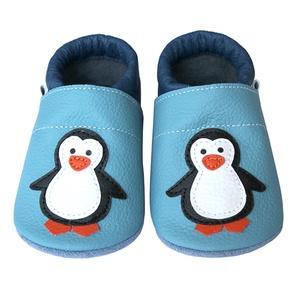 Új!!! Hopphopp puhatalpú cipő - Pingvin - világoskék/sötétkék, Táska, Divat & Szépség, Cipő, papucs, Ruha, divat, Gyerekruha, Baba (0-1év), Gyerek (1-10 év), Bőrművesség, Varrás, A cipők természetes, puha, minőségi bőrből készülnek, melyek ideálisak a járni tanuló babáknak, vagy..., Meska