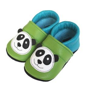 Hopphopp puhatalpú cipő - Panda zöld/kék, Táska, Divat & Szépség, Cipő, papucs, Ruha, divat, Gyerekruha, Baba (0-1év), Gyerek (1-10 év), Bőrművesség, Varrás, A cipők természetes, puha, minőségi bőrből készülnek, melyek ideálisak a járni tanuló babáknak, vagy..., Meska