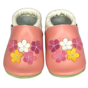 Új!!! Hopphopp puhatalpú cipő - Virágos/rózsaszín, Táska, Divat & Szépség, Cipő, papucs, Ruha, divat, Gyerekruha, Baba (0-1év), Gyerek (1-10 év), Bőrművesség, Varrás, A cipők természetes, puha, minőségi bőrből készülnek, melyek ideálisak a járni tanuló babáknak, vagy..., Meska