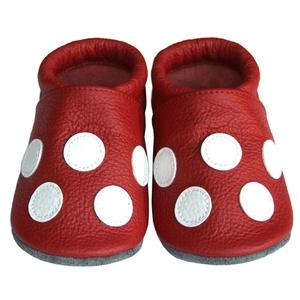 Új!!! Hopphopp puhatalpú cipő - Pöttyös, Ruha & Divat, Cipő & Papucs, Cipő, Bőrművesség, Varrás, A cipők természetes, puha, minőségi bőrből készülnek, melyek ideálisak a járni tanuló babáknak, vagy..., Meska
