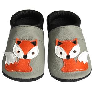 Hopphopp puhatalpú cipő - Rókás - világosszürke/fekete, Táska, Divat & Szépség, Cipő, papucs, Ruha, divat, Gyerekruha, Baba (0-1év), Gyerek (1-10 év), Bőrművesség, Varrás, A cipők természetes, puha, minőségi bőrből készülnek, melyek ideálisak a járni tanuló babáknak, vagy..., Meska