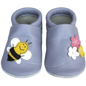 Hopphopp puhatalpú cipő - Méhecskés/levendula , Táska, Divat & Szépség, Cipő, papucs, Ruha, divat, Gyerekruha, Baba (0-1év), Gyerek (1-10 év), Bőrművesség, Varrás, A cipők természetes, puha, minőségi bőrből készülnek, melyek ideálisak a járni tanuló babáknak, vagy..., Meska