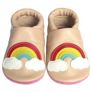 Hopphopp puhatalpú cipő - Szivárványos/púderrózsaszin, Táska, Divat & Szépség, Cipő, papucs, Ruha, divat, Gyerekruha, Baba (0-1év), Gyerek (1-10 év), Bőrművesség, Varrás, A cipők természetes, puha, minőségi bőrből készülnek, melyek ideálisak a járni tanuló babáknak, vagy..., Meska