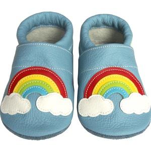 Hopphopp puhatalpú cipő - Szivárványos/világoskék, Táska, Divat & Szépség, Cipő, papucs, Ruha, divat, Gyerekruha, Baba (0-1év), Gyerek (1-10 év), Bőrművesség, Varrás, A cipők természetes, puha, minőségi bőrből készülnek, melyek ideálisak a járni tanuló babáknak, vagy..., Meska