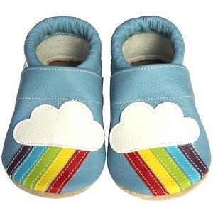 Hopphopp puhatalpú cipő - Szivárványos II./világoskék , Táska, Divat & Szépség, Cipő, papucs, Ruha, divat, Gyerekruha, Baba (0-1év), Gyerek (1-10 év), Bőrművesség, Varrás, A cipők természetes, puha, minőségi bőrből készülnek, melyek ideálisak a járni tanuló babáknak, vagy..., Meska