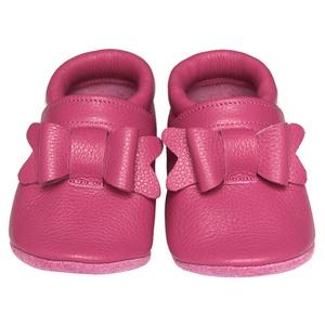 Új!!! Hopphopp puhatalpú cipő - Masnis/pink, Babacipő, Babaruha & Gyerekruha, Ruha & Divat, Bőrművesség, Varrás, A cipők természetes, puha, minőségi bőrből készülnek, melyek ideálisak a járni tanuló babáknak, vagy..., Meska