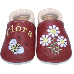 Új! Hopphopp puhatalpú cipő - Hímzett - margarétás / katicás, Babacipő, Babaruha & Gyerekruha, Ruha & Divat, Hímzés, Varrás, Varázsold emlékké gyermeked cipőjét! :) \n\nA puhatalpú bőrcipőket egyedi, névre szóló hímzéssel lehet..., Meska