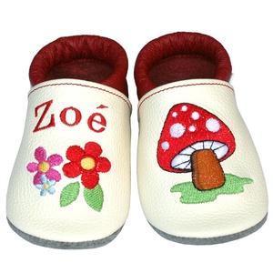 Új! Hopphopp puhatalpú cipő - Hímzett - gombás/virágos, Babacipő, Babaruha & Gyerekruha, Ruha & Divat, Hímzés, Varrás, Varázsold emlékké gyermeked cipőjét! :) \n\nA puhatalpú bőrcipőket egyedi, névre szóló hímzéssel lehet..., Meska