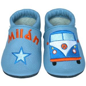Új! Hopphopp puhatalpú cipő - Hímzett - Kisbusz, Babacipő, Babaruha & Gyerekruha, Ruha & Divat, Hímzés, Varrás, Varázsold emlékké gyermeked cipőjét! :) \n\nA puhatalpú bőrcipőket egyedi, névre szóló hímzéssel lehet..., Meska