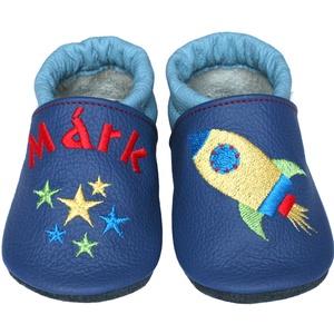 Új! Hopphopp puhatalpú cipő - Hímzett - Űrhajós, Babacipő, Babaruha & Gyerekruha, Ruha & Divat, Hímzés, Varrás, Varázsold emlékké gyermeked cipőjét! :) \n\nA puhatalpú bőrcipőket egyedi, névre szóló hímzéssel lehet..., Meska