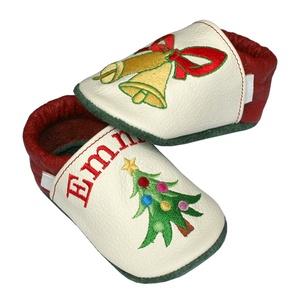 Új! Hopphopp puhatalpú cipő - Hímzett - karácsonyfás - Meska.hu