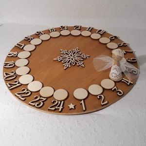 Adventi naptár- mandala, Karácsony & Mikulás, Adventi naptár, Famegmunkálás, Játékos adventi naptár. A csipke ruhás, tüll szárnyacskájú angyalka körbejár és már itt is a karácso..., Meska