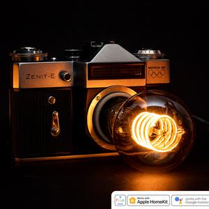 Régi vintage Zenit fényképezőgép lámpa T45 izzóval, Otthon & Lakás, Lámpa, Hangulatlámpa, Újrahasznosított alapanyagból készült termékek, Mindenmás, Régi vintage Zenit-E fényképezőgép lámpává átalakítva eladó\n\n* ∼2,3 méteres, 250V-os vezeték, földel..., Meska