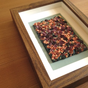 Lila virágtenger - 3D kép süthető gyurmából (S), Otthon & lakás, Dekoráció, Lakberendezés, Kép, Gyurma, Festett tárgyak, A kép süthető gyurmából készült, középbarna képkeretbe került.\n\nA keret 12x17 cm, elrendezése variál..., Meska