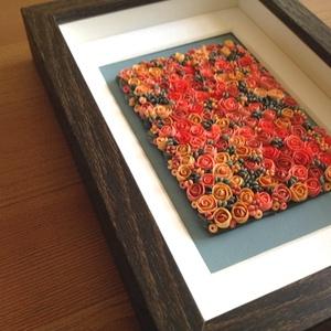 Korallszínű virágtenger - 3D kép süthető gyurmából (S), Otthon & lakás, Dekoráció, Lakberendezés, Kép, Gyurma, Festett tárgyak, A kép süthető gyurmából készült, sötétbarna képkeretbe került.\n\nA keret 12x17 cm, elrendezése variál..., Meska