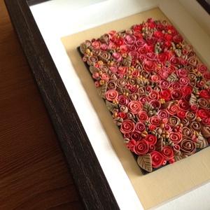 Pink virágtenger - 3D kép süthető gyurmából (S), Otthon & lakás, Dekoráció, Lakberendezés, Kép, Gyurma, Festett tárgyak, A kép süthető gyurmából készült, sötétbarna képkeretbe került.\n\nA keret 12x17 cm, elrendezése variál..., Meska