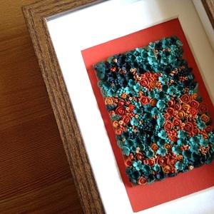 Terrakotta virágtenger - 3D kép süthető gyurmából (S), Akril, Festmény, Művészet, Gyurma, Festett tárgyak, A kép süthető gyurmából készült, középbarna képkeretbe került.\n\nA keret 12x17 cm, elrendezése variál..., Meska