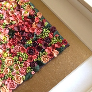 Púder virágtenger - 3D kép süthető gyurmából (M), Akril, Festmény, Művészet, Gyurma, Festett tárgyak, \nSüthető gyurmából készült kép világos képkeretben, antik arany háttérrel.\n\nA keret 15x20 cm, elrend..., Meska