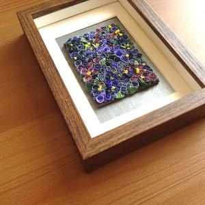 Indigó virágtenger - 3D kép süthető gyurmából (S), Otthon & lakás, Dekoráció, Lakberendezés, Kép, Gyurma, Festett tárgyak, A kép süthető gyurmából készült, középbarna képkeretbe került.\n\nA keret 12x17 cm, elrendezése variál..., Meska