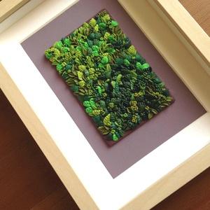 Zöld levéltenger - 3D kép süthető gyurmából (M), Otthon & lakás, Dekoráció, Lakberendezés, Kép, Gyurma, Festett tárgyak, A kép süthető gyurmából készült, világosbarna képkeretbe került.\n\nA keret 15x20 cm, elrendezése vari..., Meska
