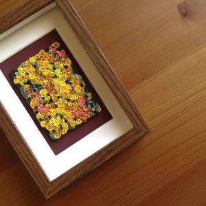 Citromsárga virágtenger - 3D kép süthető gyurmából (S), Otthon & lakás, Dekoráció, Lakberendezés, Kép, Gyurma, Festett tárgyak, A kép süthető gyurmából készült, középbarna képkeretbe került.\n\nA keret 12x17 cm, elrendezése variál..., Meska