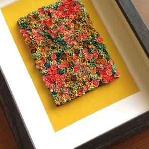 Sárga-korall virágtenger - 3D kép süthető gyurmából (M), Otthon & lakás, Dekoráció, Lakberendezés, Kép, Gyurma, Festett tárgyak, A kép süthető gyurmából készült, sötétbarna képkeretbe került.\n\nA keret 15x20 cm, elrendezése variál..., Meska