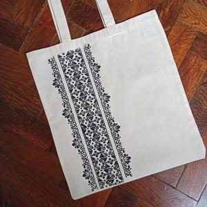 Festett vászontáska, Táska & Tok, Bevásárlás & Shopper táska, Shopper, textiltáska, szatyor, Festett tárgyak, Kézzel, stencillel festett, natúr (fehér) színű vászontáska. A minta mindkét oldalára, textilfestékk..., Meska