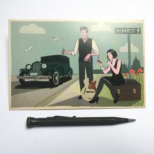 """Budapest \""""art deco jazz\"""" képeslap, Művészet, Fotográfia, Fotó, grafika, rajz, illusztráció, > Kovács Lehel illusztrációja Deák Tamás ötlete alapján\n> A 20-as 30-as évek stílusa\n> Egy kis budap..., Meska"""
