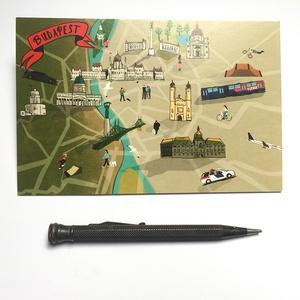 Budapest térkép képeslap, Művészet, Fotográfia, Fotó, grafika, rajz, illusztráció, Jó, öreg Budapest!\n> Kovács Lehel illusztrációja \n> Egy kis budapesti nyomdában készült hagyományos ..., Meska