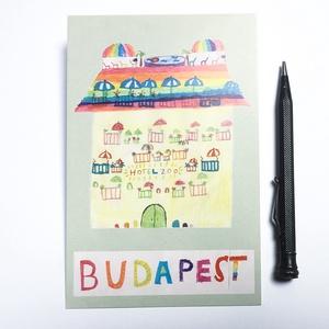 """Budapest \""""Hotel ZOO\"""" képeslap, Művészet, Fotográfia, Fotó, grafika, rajz, illusztráció, > Különlegessége, hogy gyerekrajz (filc, ceruza) \n> Egy kis budapesti nyomdában készült hagyományos ..., Meska"""