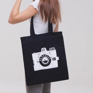 """Budapest \""""Fotós\"""" vászontáska fekete, Táska & Tok, Bevásárlás & Shopper táska, Shopper, textiltáska, szatyor, Fotó, grafika, rajz, illusztráció, > A legendás \""""Kamera\"""" mintával\n> 100% pamut vászontáska\n> Méretek: 42 x 38 cm\n, Meska"""