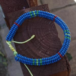 kék ndebele, Ékszer, Karkötő, Gyöngyös karkötő, Ndebele, azaz heringbone technikával készült karkötő, melynek mérete egy csúszó szorítás segítségéve..., Meska